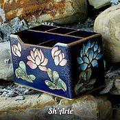 Pencil holders handmade. Livemaster - original item Pencil Chinese style Lotus. Handmade.