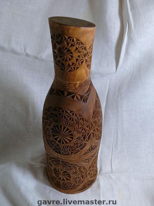 Подарочное оформление бутылок ручной работы. Ярмарка Мастеров - ручная работа. Купить Футляр для бутылки деревянный резной. Handmade. сувенир