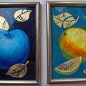 Картины и панно ручной работы. Ярмарка Мастеров - ручная работа Картины диптих Яблоко и Лимон. Handmade.