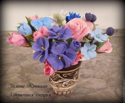 """Интерьерные композиции ручной работы. Ярмарка Мастеров - ручная работа. Купить Букетики цветов """"мини"""" из полимерной глины. Handmade. Комбинированный"""