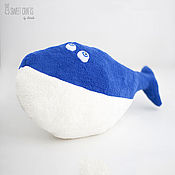 Для дома и интерьера handmade. Livemaster - original item Velour pillow toy Whale. Handmade.