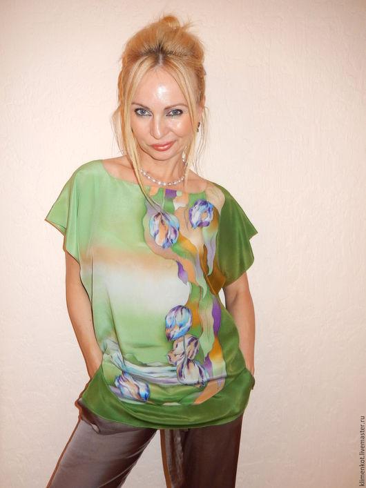 Блузки ручной работы. Ярмарка Мастеров - ручная работа. Купить блузка  Синие тюльпаны. Handmade. Зеленый, натуральный шелк, тюльпаны