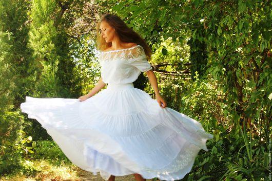 """Юбки ручной работы. Ярмарка Мастеров - ручная работа. Купить """"Candy"""" бохо юбка (платье или костюм).. Handmade. Белый"""