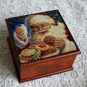 """Подарки к праздникам ручной работы. Ярмарка Мастеров - ручная работа Чайная шкатулка """"Добрый Дедушка Мороз"""". Handmade."""