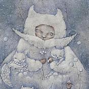 Картины и панно ручной работы. Ярмарка Мастеров - ручная работа Снежные - нежные...  Авторский принт на холсте. Handmade.