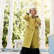 Одежда ручной работы. Ярмарка Мастеров - ручная работа Зимнее Пальто с вышивкой желтое осеннее Briar  осень зима. Handmade.