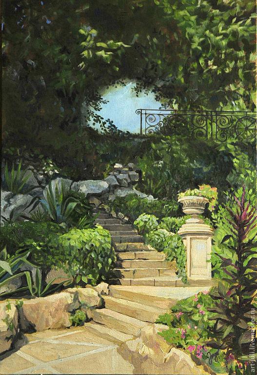 """Пейзаж ручной работы. Ярмарка Мастеров - ручная работа. Купить картина маслом """"Лестница в саду"""" 60х40. Handmade. Бежевый, песочный"""