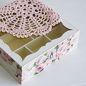 """Для дома и интерьера ручной работы. Ярмарка Мастеров - ручная работа шкатулка чайная """"азалия розовая"""". Handmade."""