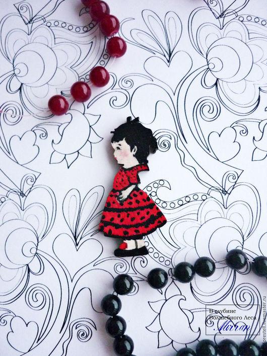 """Броши ручной работы. Ярмарка Мастеров - ручная работа. Купить Брошь """"Испаночка"""". Брошь Девочка Кукла в красном.Испания. Handmade."""