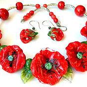 Украшения handmade. Livemaster - original item Necklace oval Magic poppies. Handmade.