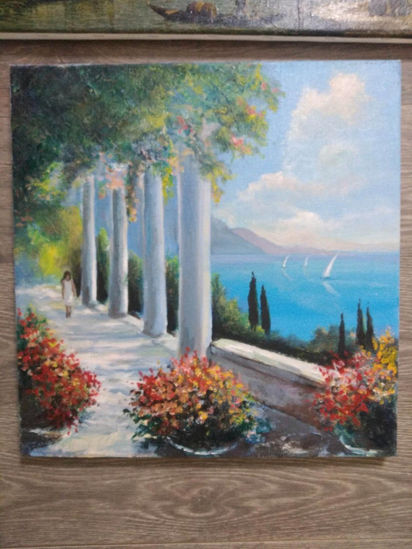 Пейзаж ручной работы. Ярмарка Мастеров - ручная работа. Купить Картина. Handmade. Италия, теплый пейзаж, холст на подрамнике, масло