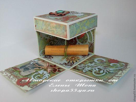 Magic Box  для мужчины, коробочка раскладывается при снятии крышки, возможны варианты с текстом, датой, фото. Внутрь можно поместить деньги, сертификат, украшения и многое другое. Размер 10х10х10 см.