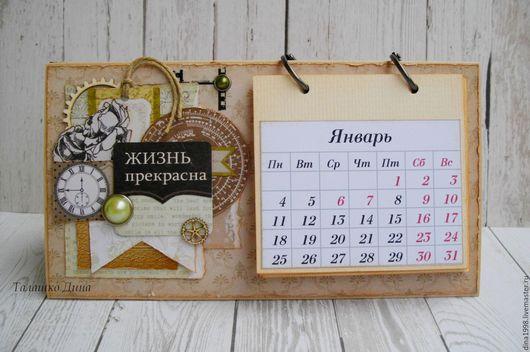 Календари ручной работы. Ярмарка Мастеров - ручная работа. Купить В НАЛИЧИИ-календари 2017. Handmade. Комбинированный, календарь настольный