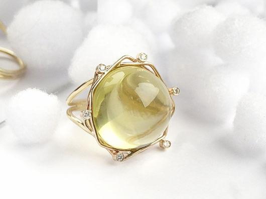 Кольца ручной работы. Ярмарка Мастеров - ручная работа. Купить Золотое кольцо с цитрином и бриллиантами. Handmade. Красивое кольцо, золото
