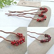 Свадебный салон handmade. Livemaster - original item Hairpin hair Clip Copper Wire Beads Metal red Boho. Handmade.