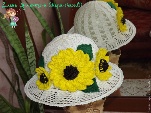 """Одежда для девочек, ручной работы. Ярмарка Мастеров - ручная работа. Купить Шляпка-панамка """"Южное солнце"""" для девочки. Handmade. Белый"""