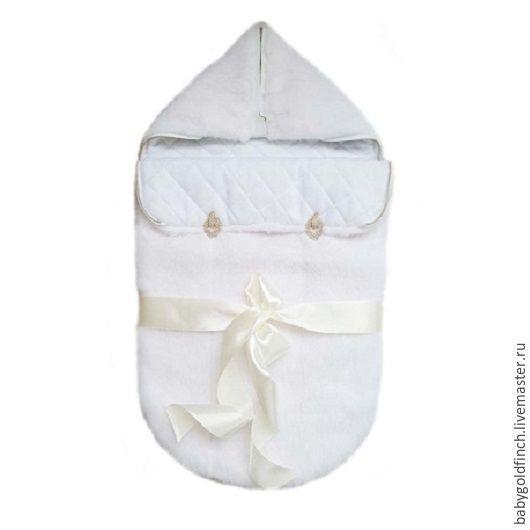 Для новорожденных, ручной работы. Ярмарка Мастеров - ручная работа. Купить Меховой конверт для новорожденного из норки скандинавской белой. Handmade.
