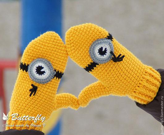 Варежки, митенки, перчатки ручной работы. Ярмарка Мастеров - ручная работа. Купить Варежки Миньоны. Handmade. Желтый, миньоны