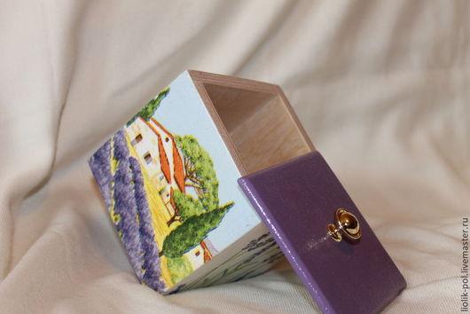 """Корзины, коробы ручной работы. Ярмарка Мастеров - ручная работа. Купить Короб """"Домик"""". Handmade. Сиреневый, Декупаж, короб для кухни"""
