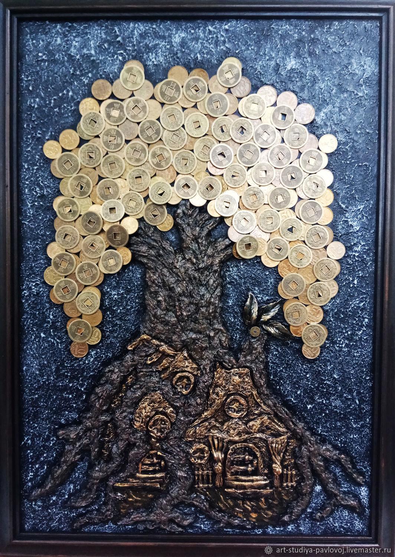 Панно объёмное денежное дерево избушка китайские монеты, Панно, Москва,  Фото №1