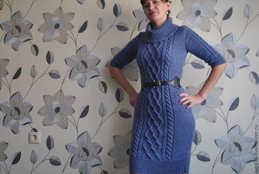 """Платья ручной работы. Ярмарка Мастеров - ручная работа. Купить Платье""""Джинс-2"""". Handmade. Тёмно-синий, шерсть"""