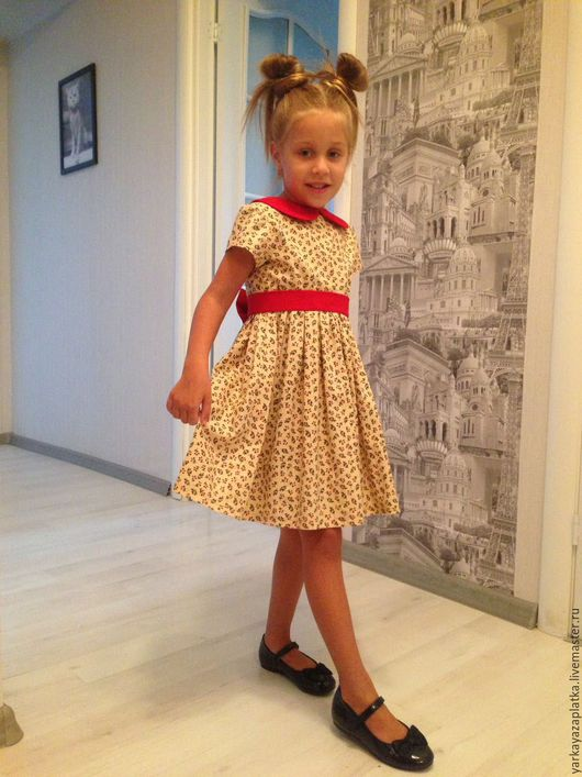 """Одежда для девочек, ручной работы. Ярмарка Мастеров - ручная работа. Купить Платье """"мелкие вишенки"""". Handmade. Комбинированный, хлопок 100%"""