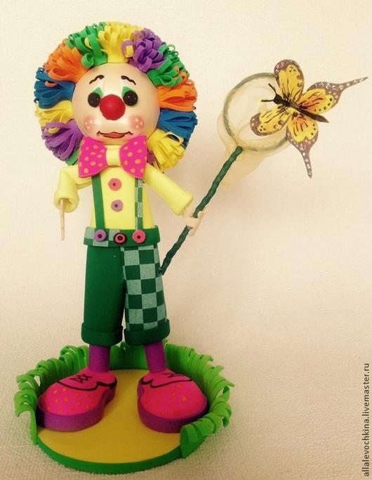 Человечки ручной работы. Ярмарка Мастеров - ручная работа. Купить Клоун Летний. Handmade. Разноцветный, кукла из фоамирана, подарок, фоамиран