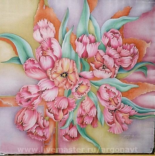 """Шали, палантины ручной работы. Ярмарка Мастеров - ручная работа. Купить Платок """"Розовые тюльпаны"""". Handmade. Натуральный шелк, розовый"""