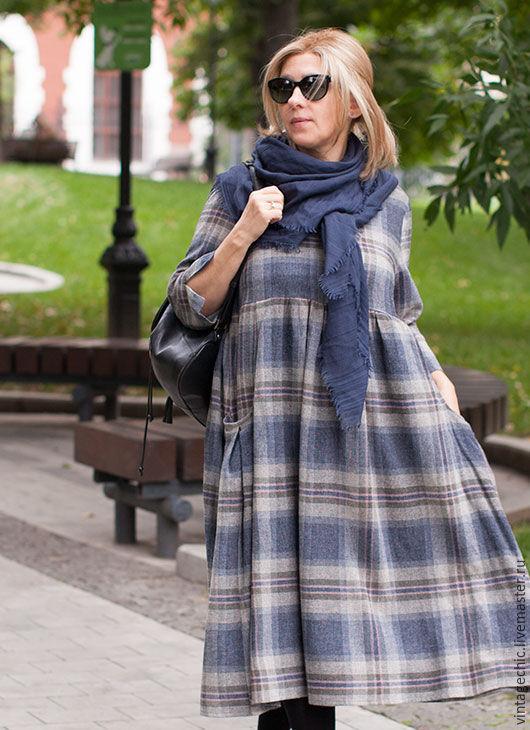 Платья ручной работы. Ярмарка Мастеров - ручная работа. Купить Платье в серо-синюю клетку из шерсти art.86i. Handmade.