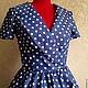 """Платья ручной работы. Платье """" Горошек"""" в стиле 50-х от SOLOdress. SOLOdress. Ярмарка Мастеров. Платье миди"""