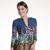 Одежда ручной работы. Ярмарка Мастеров - ручная работа 189: свободное платье из ткани кади принт cavalli, офисное платье. Handmade.