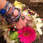 Украшения ручной работы. Ярмарка Мастеров - ручная работа Изысканный браслет из итальянской кожи с полудрагоценными камнями. Handmade.