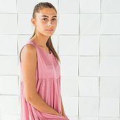 Одежда handmade. Livemaster - original item Viscose dress, sleeveless, MIDI, pink. Handmade.