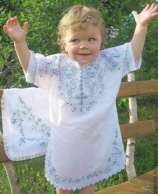 Крестильные принадлежности ручной работы. Ярмарка Мастеров - ручная работа. Купить Крестильная рубашка 91С на 1-2 года.. Handmade.