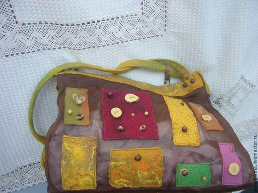 Женские сумки ручной работы. Ярмарка Мастеров - ручная работа. Купить Сумка в стиле бохо. Handmade. Коричневый, шерсть 100%