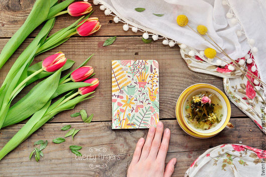 """Блокноты ручной работы. Ярмарка Мастеров - ручная работа. Купить Тетрадь """"Сад"""" А6. Handmade. Кремовый, блокнот, садовые цветы"""