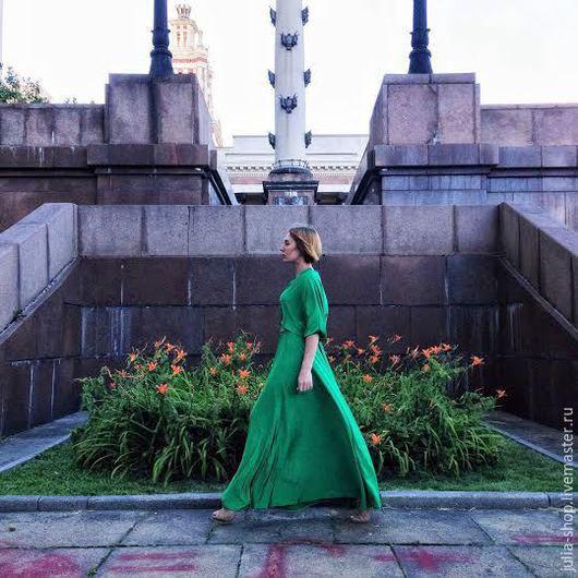 """Платья ручной работы. Ярмарка Мастеров - ручная работа. Купить Вечернее платье в пол """" Зеленое"""". Handmade. Зеленый"""