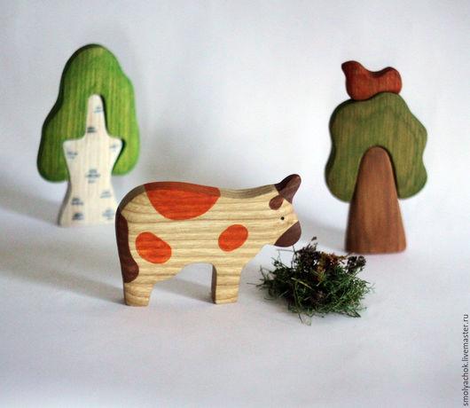 Игрушки животные, ручной работы. Ярмарка Мастеров - ручная работа. Купить Корова  деревянная  развивающая игрушка. Handmade. Корова