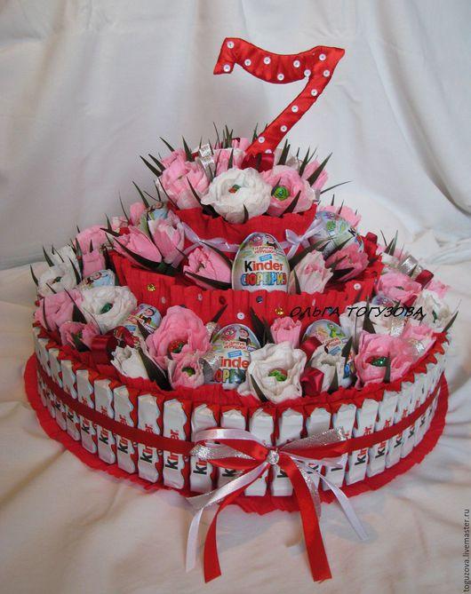 Персональные подарки ручной работы. Ярмарка Мастеров - ручная работа. Купить Киндер торт. Handmade. Розовый, киндер сюрприз