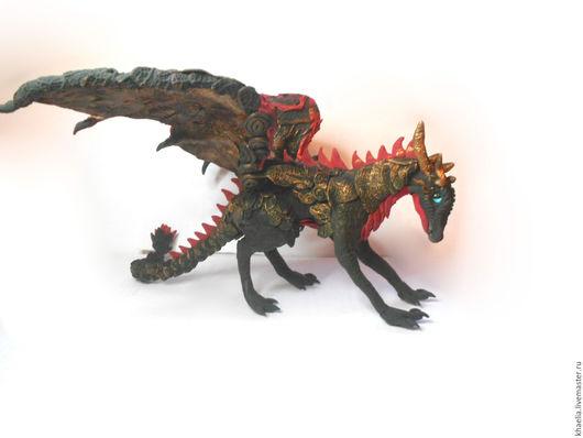 Сказочные персонажи ручной работы. Ярмарка Мастеров - ручная работа. Купить Дракон черный (фигурка дракона большая, статуэтка черного дракона). Handmade.