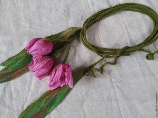 """Колье, бусы ручной работы. Ярмарка Мастеров - ручная работа. Купить Колье-лиана""""Тюльпаны"""". Handmade. Розовый, шерстяной шарф"""