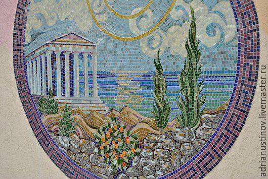 Интерьерные слова ручной работы. Ярмарка Мастеров - ручная работа. Купить Греческий берег. Handmade. Мозайка, картина из стекла, мозаика