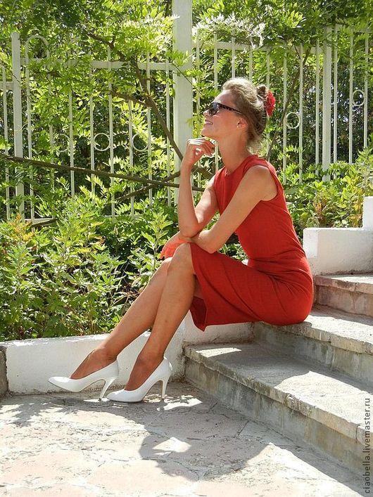"""Платья ручной работы. Ярмарка Мастеров - ручная работа. Купить Платье-футляр """"Венеция"""". Handmade. Ярко-красный, красный цвет"""