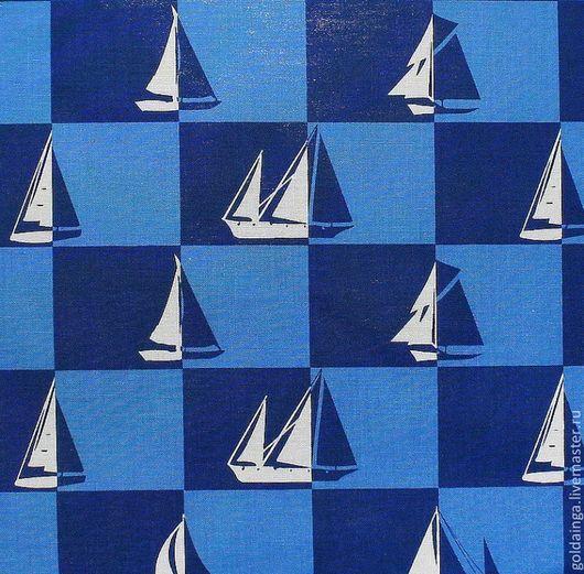 """Шитье ручной работы. Ярмарка Мастеров - ручная работа. Купить № 485 американский хлопок """"Синие корабли"""". Handmade."""