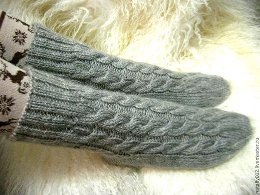 Носки, Чулки ручной работы. Ярмарка Мастеров - ручная работа. Купить Носочки вязаные. Handmade. Серый, носки вязаные