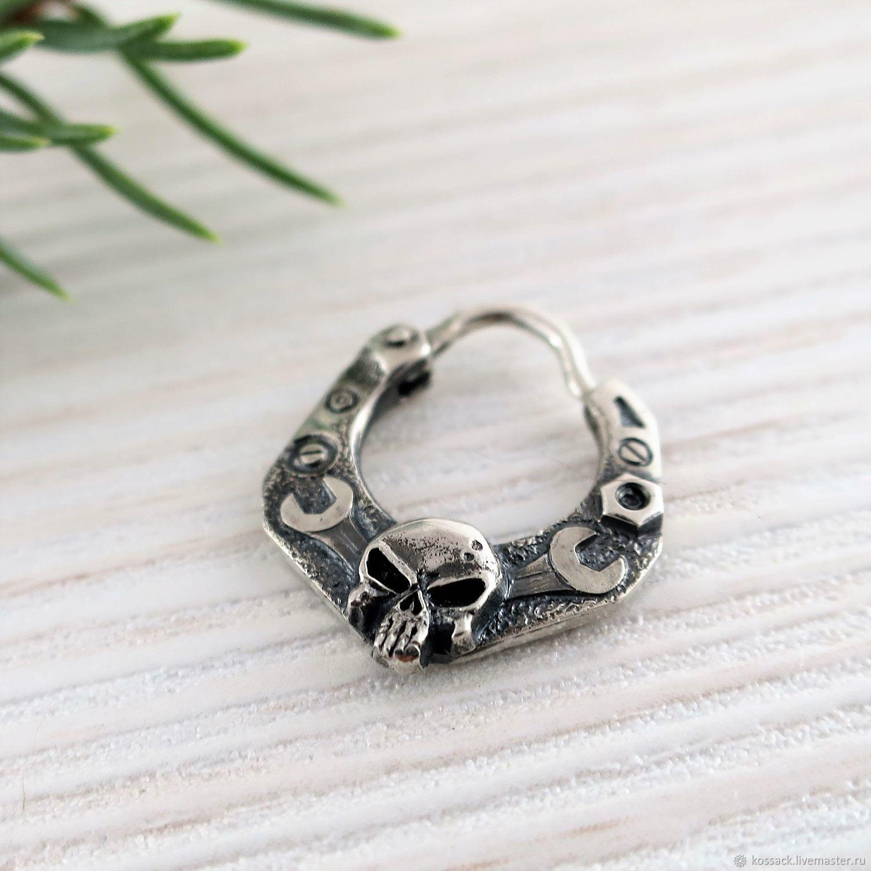 men's earring skull - biker's earring - sterling silver, Earrings, Zaporozhye,  Фото №1