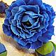 Броши ручной работы. Ярмарка Мастеров - ручная работа. Купить брошь и клипсы из цветов Пиона. Handmade. Тёмно-синий