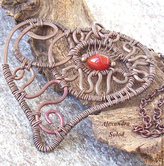 """Кулоны, подвески ручной работы. Ярмарка Мастеров - ручная работа. Купить Кулон """" Сердце """"/ """" Heart """" -  медь, Wire  Wrap -1800 руб.. Handmade."""
