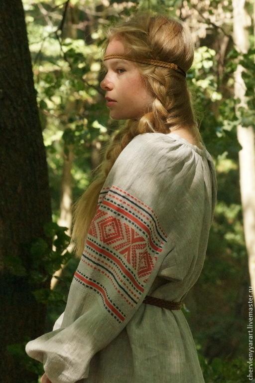 Одежда ручной работы. Ярмарка Мастеров - ручная работа. Купить Рубаха женская льняная с прямыми поликами. Handmade. Серый