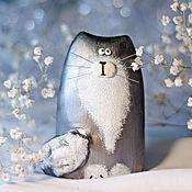 Для дома и интерьера ручной работы. Ярмарка Мастеров - ручная работа Статуэтка кот / кошка серебристый дымчатый - подарок на 8 марта. Handmade.